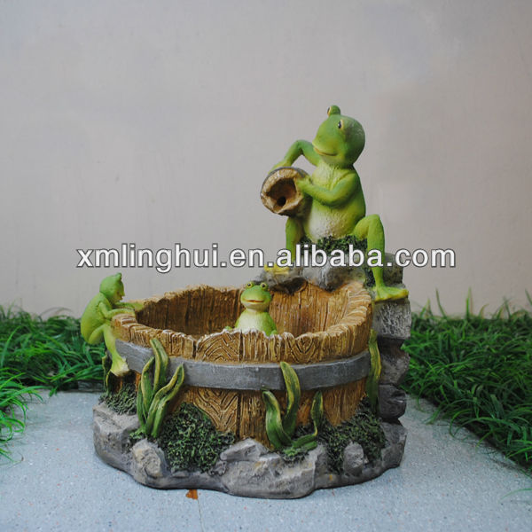 Resin Animal Table Water Fountain /Green Frog Garden (CE/UL/SGS)