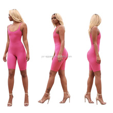 Women slim sexy sport club sleeveless short bodysuit jumpsuit