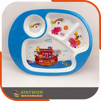 Home ware Decorative Custom Printed 4 Compartments Plastic Melamine Kids Food Tray