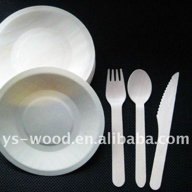 disposable wooden tray plate with biodegradable birch wooden cutlery fork spoon knife