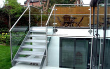 High quality exterior / outdoor metal straight stairs with glass railing and double stringer