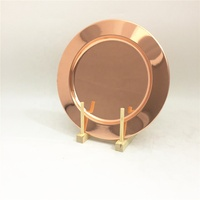 Amazon 2019 stainless steel wedding party changer plate Rose gold charger plates for hotel wedding