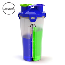 2 in 1 double neck double side plastic water cup, dual shaker