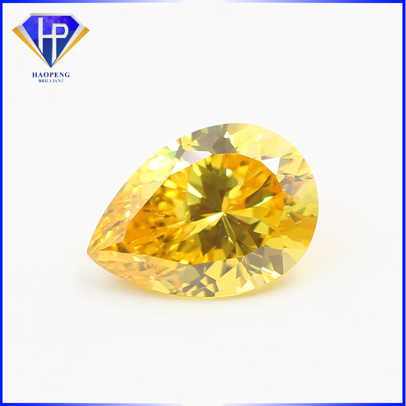 Hot Sale 7x9mm Yellow CZ Must Cut Pear 100 Facets Cubic Zirconia Gemstone