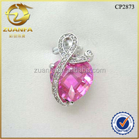 shining double checker cut pink heart shaped cubic zirconia silver jewelry big stone pendant design