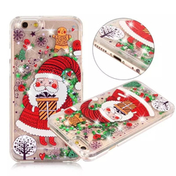 New Santa Claus christmas gift glitter liquid quicksand phone case for iPhone 7 8 pls,for iPhone X,for samsung S8 Plus