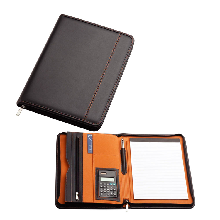 Black and Orange Inside A4 Compendium Leather Styled Portfolio File Folder with Calculator