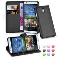 lichee skin wallet stand 3 card holder flip cover case for htc 620