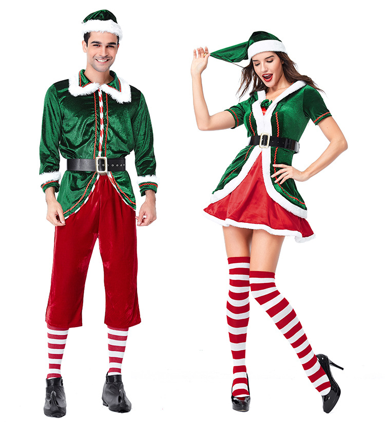 Sexy Men and Women Christmas Dress Costume Gothic Green Christmas Dance Costume