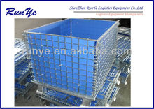 Reliable metal cage storage container with plastic sheet