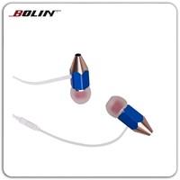 Pencil style cartoon in-ear earphone sale promotion retractable earphone gift ear buds
