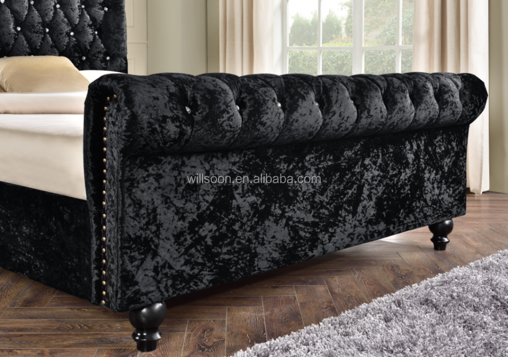 Modern Diamond Tuffed Velvet king size bed frame