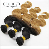 Fashion Two Tone Brazilian Virgin Human Hair Weaves Expression Hair Extensions