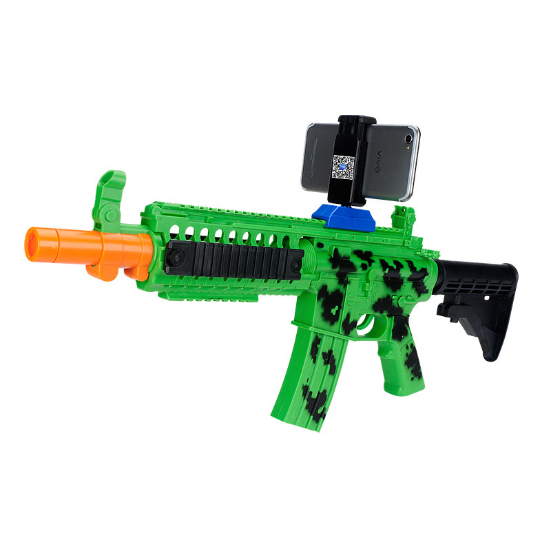 DIY Reality AR Toy Gun with Cell Phone Stand Holder Protable Wood AR Gun