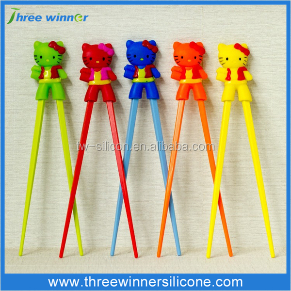 kids chopstick chopstick with silicone cartoon helper