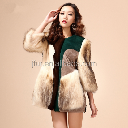 Stunning Real Fox Fur Parka Coat With Patch Sheared Sheepskin Fur Designing