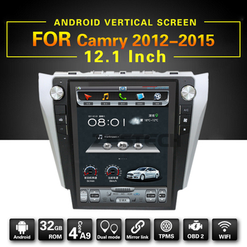 12.1inch car gps multimedia for Toyota Camry 2012-2015 Android vertical full screen with gps, wifi,BT,SWC