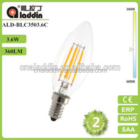 china global supplier CE Rosh ERP SAA UL GS approved C35 3.6W led filament bulb