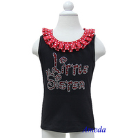 Red White Polk Dots Collar Bling Rhinestone Red Little Sister Black Tank Top 3M-10Y