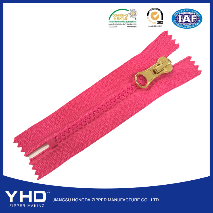Pink color heavy duty delrin garment zips 18cm zippers puller rubber