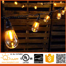 48ft 24 Sockets Commercial Outdoor Edison Drop S14 Globe String Lights, ilamptech Weatherproof LED String Lights