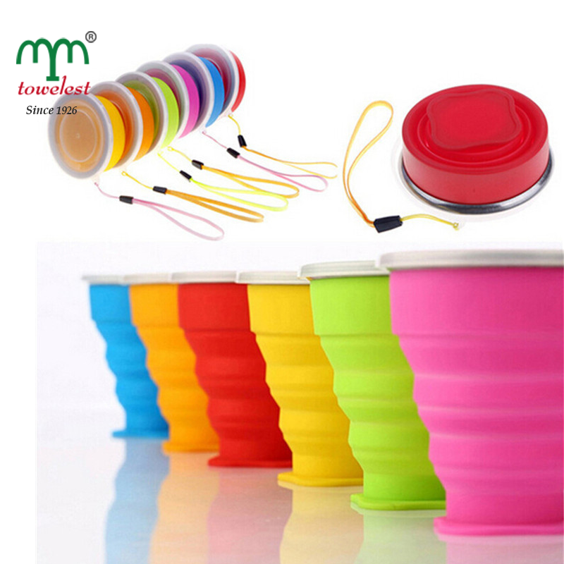 China manufacturer portable collapsible silicone water bottle with stainless opening