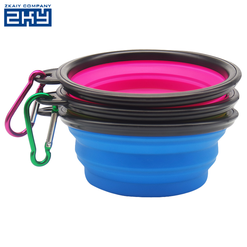 Accept custom logo round collapsible silicone pet food feeding travel camping dog bowl
