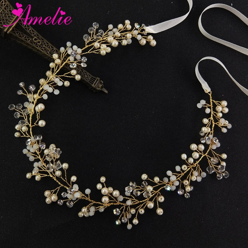 Charming Headpieces Boho Delicate Crystal and pearl Bridal Hair Vine Wedding Party Photography Prop Women Hair Band