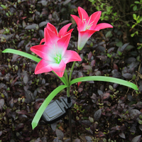 Solar Waterproof Pink Lily Flower Lamp