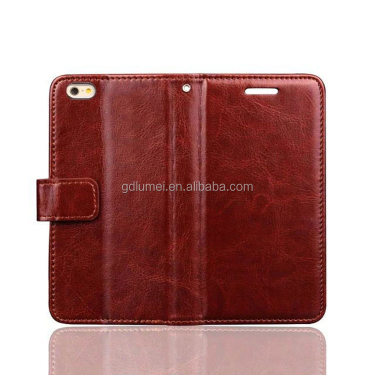 For iphone4/4s/5/5c/5s/6 case, hot Premium Crazy Horse leather wallet flip folding stand case cover with card holders