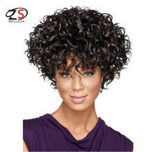 Wholesale Black Afro Kinky Curl Hair Lady Synthetic African Fluffy Wigs