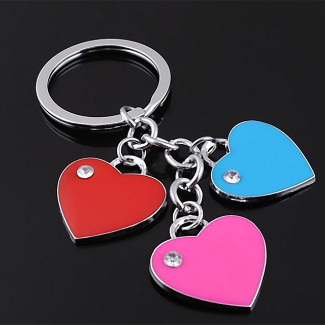 Fashion stainless steel crystal heart keychain woman keyring key chain personality girl key ring holder bag pendant charms