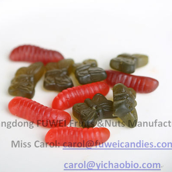 halal gummy worm/butterfly shaped gummy candy with 65% fruit juice