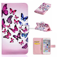 Colorful Drawing Pattern Printing Wallet Battery Case leather flip Cover for iphone SE
