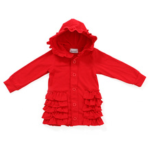 Wholesale solid color clothes children girls boutique ruffle red baby girl coats