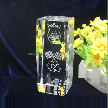 K9 crystal material and laser engraved carving type crystal glass cube for wedding gift items