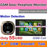 4.7 inch gsm digital door viewer with video recording, PIR, gsm call