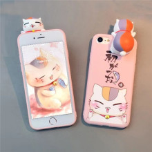 Soft TPU Lucky Cat Image 3D Doll Pasted Back Cover Cell Phone Case with Cartoon Lanyard for iPhone 7 Plus