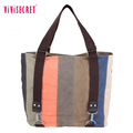 New fashion canvas women handbag women vintage leather briefcase shopping bags