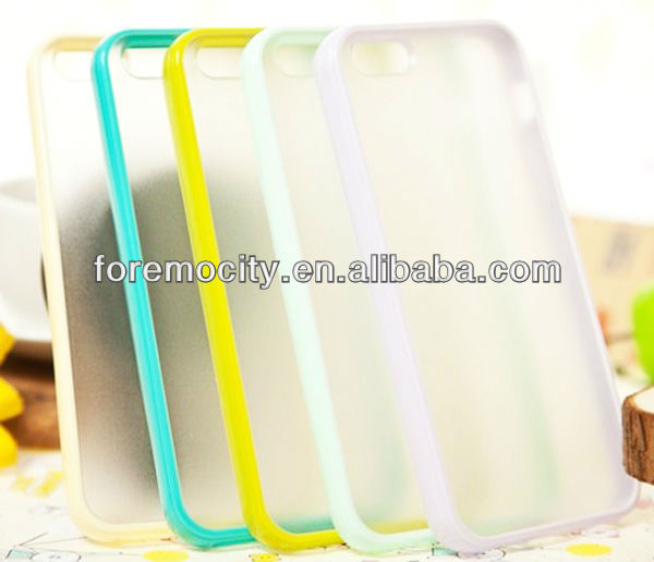 Candy color matte back TPU+PC case for iPhone5