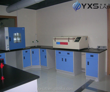 Chemical laboratory equipment corner table/bench against wall