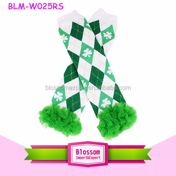 2017 Wholesale green checked lucky clover & shamrock baby leg warmers tutu leggings Infants Knitted St Partrick's Day leg Warmer