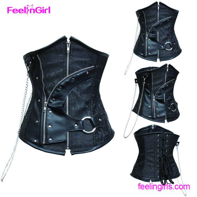 Black Steel Boned Waist slimming Underbust Corset Steampunk Corsets And Bustiers Sexy Vintage Gothic Clothing
