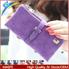 2015 new fashion women wallets drawstring nubuck Leather zipper wallet design two fold more color clutch
