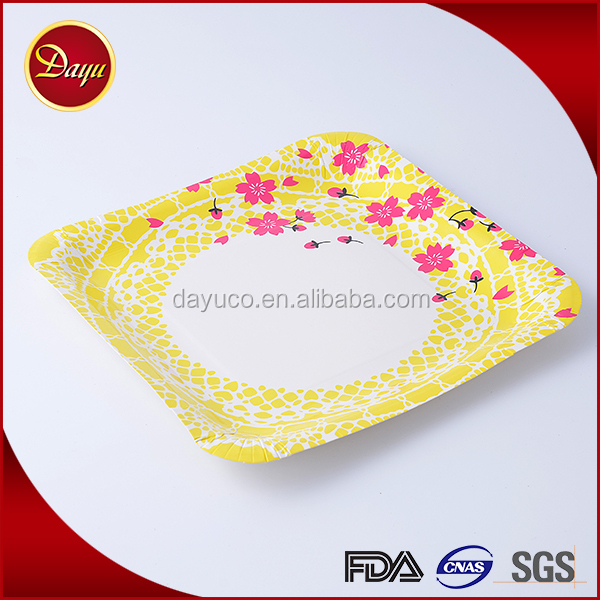 Professional custom party use disposable printed paper plates