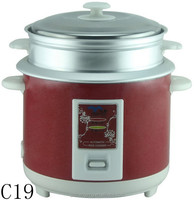 1.8L Chinese Traditional Red Electric Cylindrical Rice Cooker with Steamer