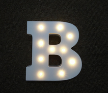 Custom light up 6.25 inches tall white MDF decorative led alphabet letters