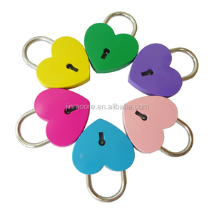Large Mixed Color Metal Heart Shaped Padlock Mini Lock With Key For Couple Gifts