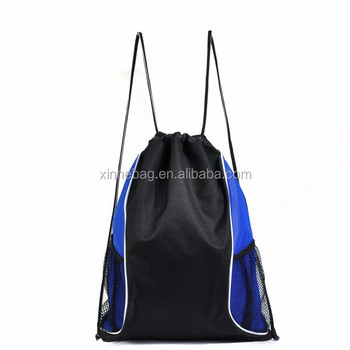 Promotional custom design 210D nylon drawstring gym bag with mesh pockets/cheap portable polyester laundry bag