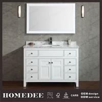 2014 Chinese bathroom makeup vanity with lights marble countertop deck